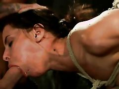 slut bound in rope and made to suck dick
