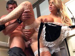 Long haired adorable blonde housemaid Cameron Dee with natural perky