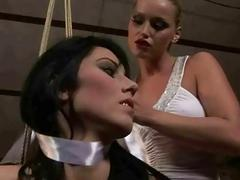 Mistress Kathia Nobili punishing hot brunette