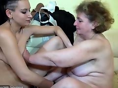 Old chubby Granny masturbate with dildo, granny with young boy