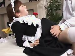 cosplay maid gets on her knees to suck a cock