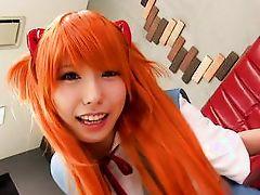 girl with orange hair having fun