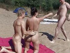 Nude beach swingers threesome