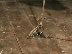 cock and balls tightly wrapped in rope