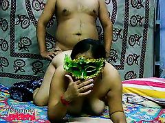 indian chubby milf slut sucks and fucks