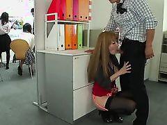 japanese slut is fingered in the office
