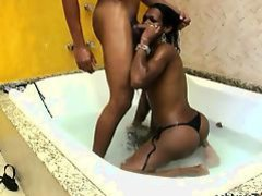 Hot black shemale sucks and fucks big cock in jacuzzi