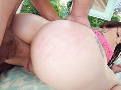 Brunette with big ass and bald pussy gets