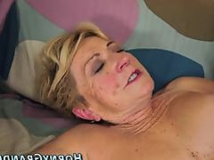 Busty grandma gets cream