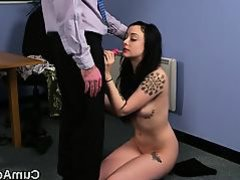 Kinky stunner gets cum shot on her face gulping all the jizm