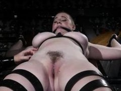 busty short-haired lesbian babe was bound and punished