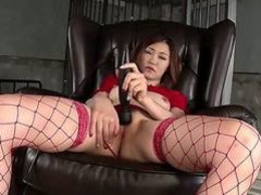Jap woman in red Airi Mizusawa plays with black vibrator
