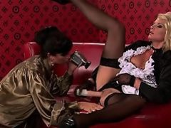 Beautiful lesbo playgirl moans hard with 2 big toys on cunt