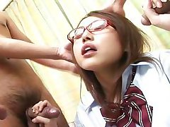 fabulous asian schoolgirl sucking 3 dick-holders