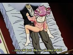 Pink haired hentai angel digs her masters dick in dorm bed