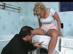 German Repairman fixes her instead of machine