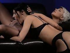 Horny brunette gagging penis of rubber