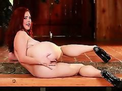 Adorable amateur looking redhead Melody Jordan with usual boobies and wiry extreme body in high