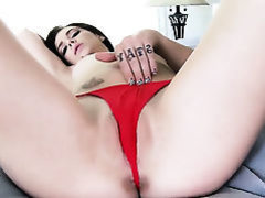 Hunger darling in red ties Kiera Winters enjoys
